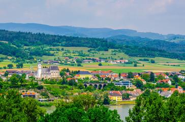 Spoed Foto op Canvas Groen blauw Aerial view of Emmersdorf an der Donau town in Austria