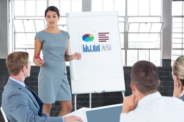 Composite image of manager presenting statistics to her colleagu