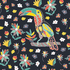 Seamless summer tropical pattern with bird and flowers. Toucan sitting on a branch. Vector.