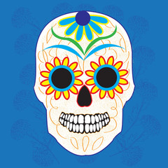 Day of the dead national holiday in Mexico, colorful skull