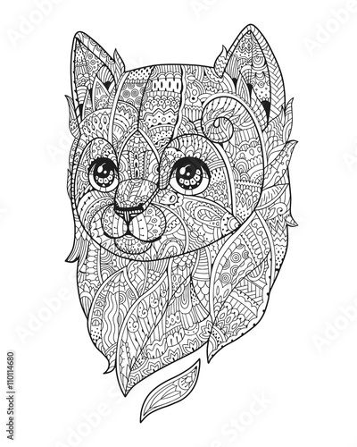 Quot Zen Art Cat Hand Drawn Fluffy Cat Portrait In Zentangle