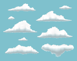 collection of clouds in  summer  blue sky, set of volumetric clouds on blue background,  set of cartoon clouds