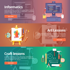 Informatics lesson. Computer technologies. Information technology. Art lesson. Drawing and painting skill. Craft lesson. Handmade stuff. Education and science banners set. Vector design concept.