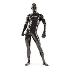 Abstract black plastic human body mannequin over white background. 3D rendering illustration