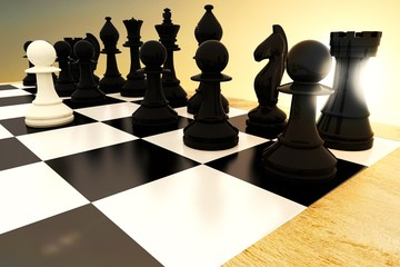 Composite image of black chess pieces on board with white pawn