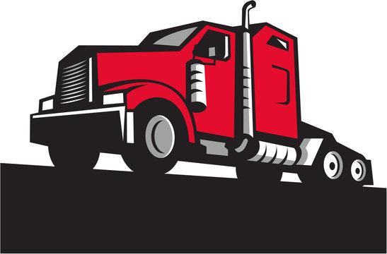 Semi Truck Tractor Low Angle Retro