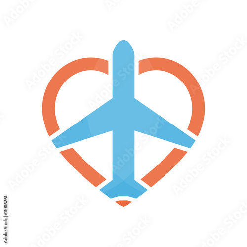 vector airplane and heart logo design template airport logo sky