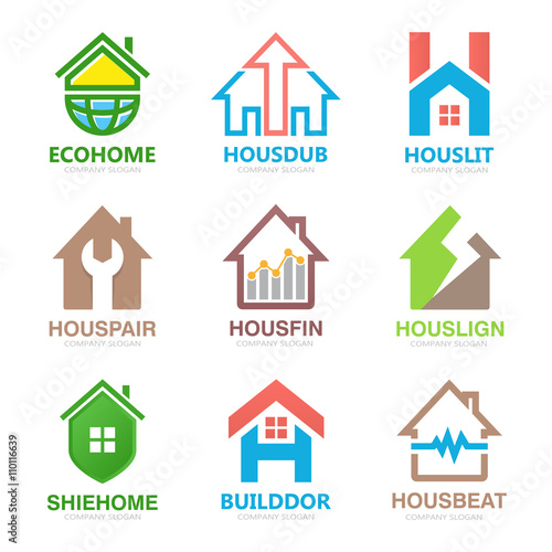 Set of house logo design template. House logo. Home logo. Real ...