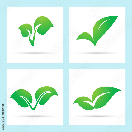 Green leaf icons  Four abstract green leaves as check mark