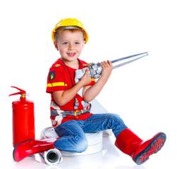 Cute toddler fireman