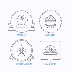 Worker, minerals and engineering helm icons.