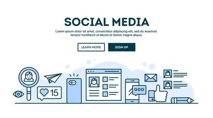 Social media, concept header, flat design thin line style