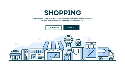 Online shopping, concept header, flat design thin line style