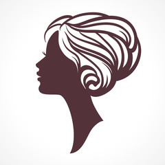 Woman face silhouette. Female head  with stylish hairdo.