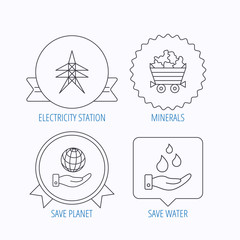 Save water, planet and electricity station icons. Minerals.