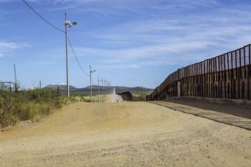 US-Mexico border wall looking east   from Naco, Arizona