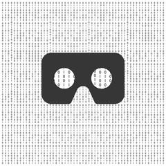 cardboard virtual reality glasses with binary code background