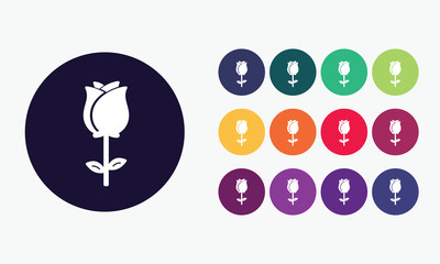 Set 1 of colorful rose flower icons. Vector graphic design.