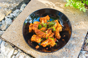 Pork fried with chilies / Food of Thailand