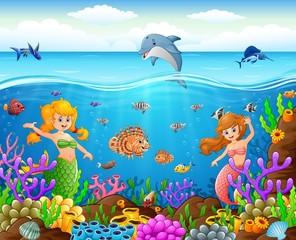 Cartoon mermaid under the sea