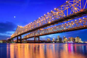 Printed kitchen splashbacks Dark blue New Orleans Skyline