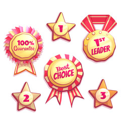 Vector set of colored brightly badges with labels