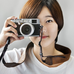 Asian Girl Takin Pictures By Camera Concept