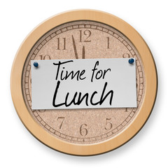Time for Lunch text on clock bulletin board sign