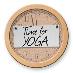 Time for Yoga text on clock bulletin board sign