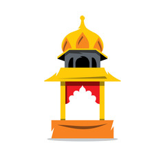 Vector Indian Temple with arch Cartoon Illustration.