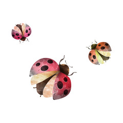 Creative Illustration and Innovative Art: Animal Insects - Ladybugs - Watercolor Style. Realistic Fantastic Cartoon Style Artwork Scene, Wallpaper, Story Background, Card Design