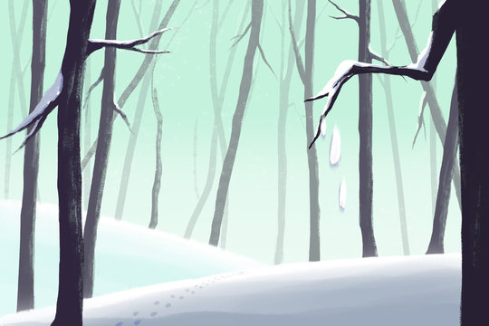 Creative Illustration and Innovative Art: Winter Forest - Letter Paper Background. Realistic Fantastic Cartoon Style Artwork Scene, Wallpaper, Story Background, Card Design