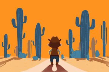Creative Illustration and Innovative Art: Cowboy and Desert. Realistic Fantastic Cartoon Style Artwork Scene, Wallpaper, Story Background, Card Design