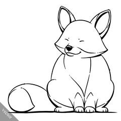 funny cartoon cute fat fox vector illustration