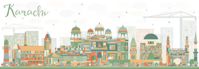 Abstract Karachi Skyline with Color Landmarks. Fototapete