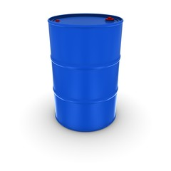 Plain Blue Oil Drum With Red Caps Isolated 3D Illustration