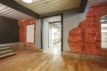 Indoor Interior: loft shop with old brick wall