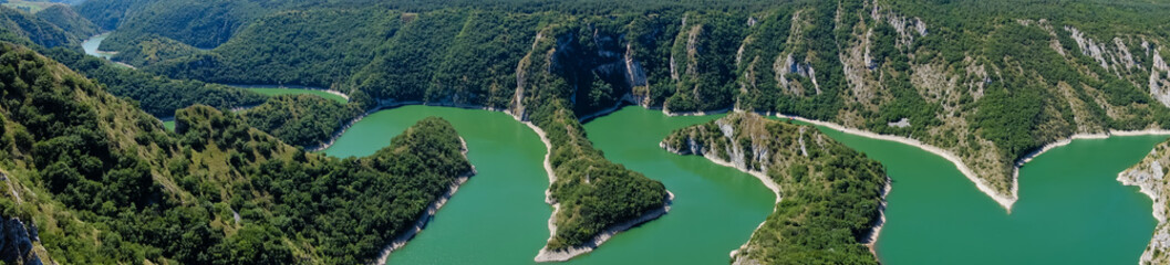 Printed kitchen splashbacks River Meanders at rocky river Uvac gorge on sunny morning, southwest Serbia