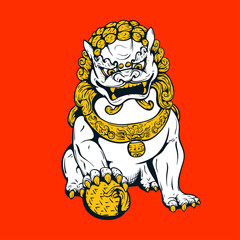 Handdrawn oriental tiger, asian lion, chinese temple guard