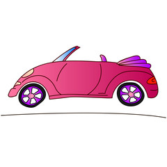 pink car for girl, cabriolet summer illustration