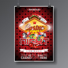 Vector Party Flyer design on a Casino theme with chips and cards on dark symbols background.