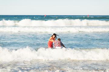 Romantic couple in the sea