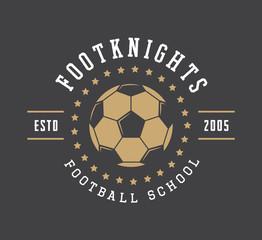 Vintage soccer or football logo, emblem, badge, label