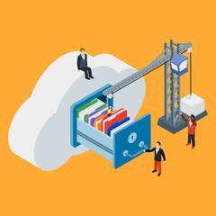 Cloud data storage flat 3d isometric business technology server