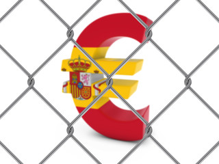 Spanish Flag Euro Symbol Behind Chain Link Fence with depth of field - 3D Illustration