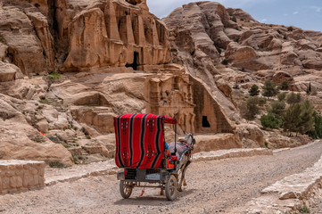 Tourist transport (carriage) near entrance to famous Petra site. Petra, Jordan.