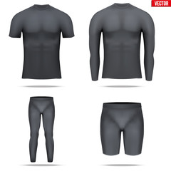 Under layer compression shirt with long sleeve of thermo fabric