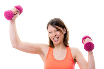 frau beim fitnesskurs
