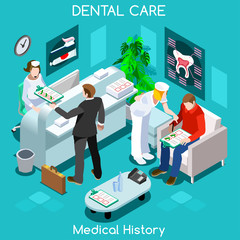 Dentist patient medical history waiting room before medical visit. Hospital clinic reception patients waiting medical consult. Healthcare 3D flat isometric people collection