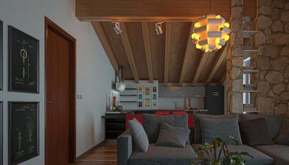 Mansarda, Interior Design, Arredamento, Rendering